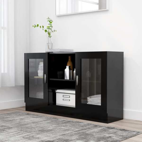 vidaXL Dulap cu vitrină, negru, 120 x 30,5 x 70 cm, PAL