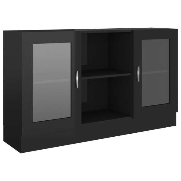 Dulap cu vitrină, negru extralucios, 120 x 30,5 x 70 cm, PAL