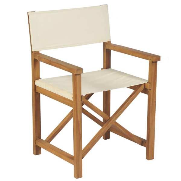 vidaXL Scaun de regizor pliabil, alb crem, lemn masiv de tec