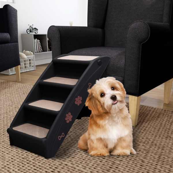 vidaXL Scară pentru câini pliabilă, negru, 62 x 40 x 49,5 cm