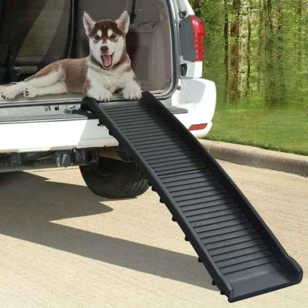 vidaXL Rampă pentru câini pliabilă, negru, 155,5 x 40 x 15,5 cm
