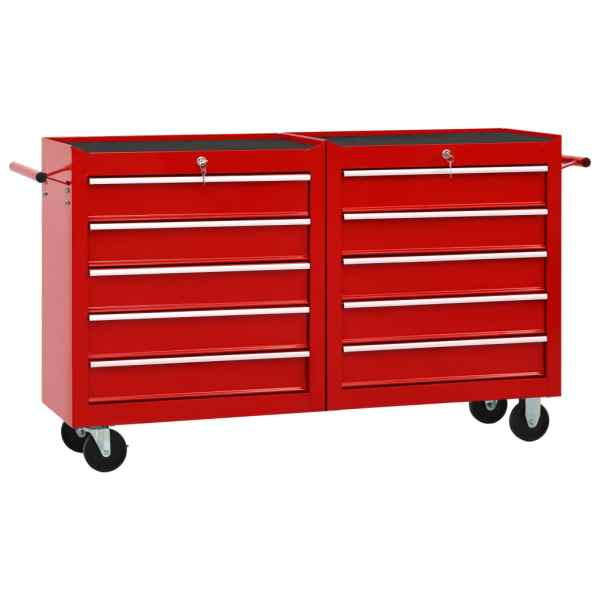 vidaXL Cărucior de scule cu 10 sertare, roșu, oțel