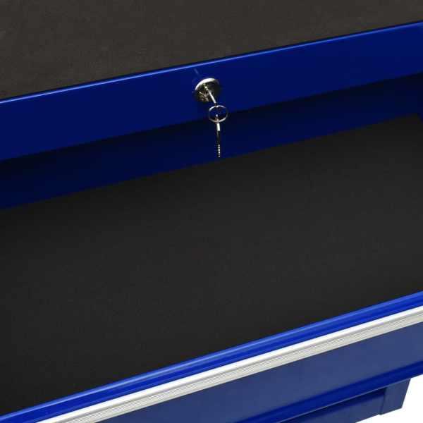Cărucior de scule cu 10 sertare, albastru, oțel
