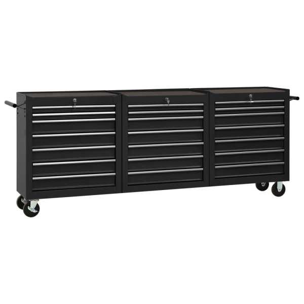 vidaXL Cărucior de scule cu 21 sertare, negru, oțel
