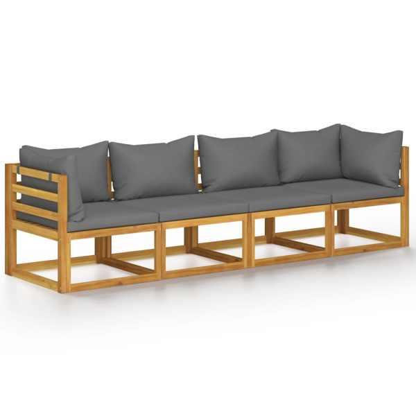 vidaXL Canapea de grădină cu 4 locuri, cu perne, lemn masiv de acacia
