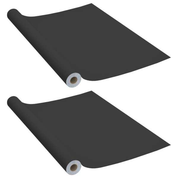 vidaXL Folii de mobilier autoadezive, 2 buc., negru, 500 x 90 cm, PVC