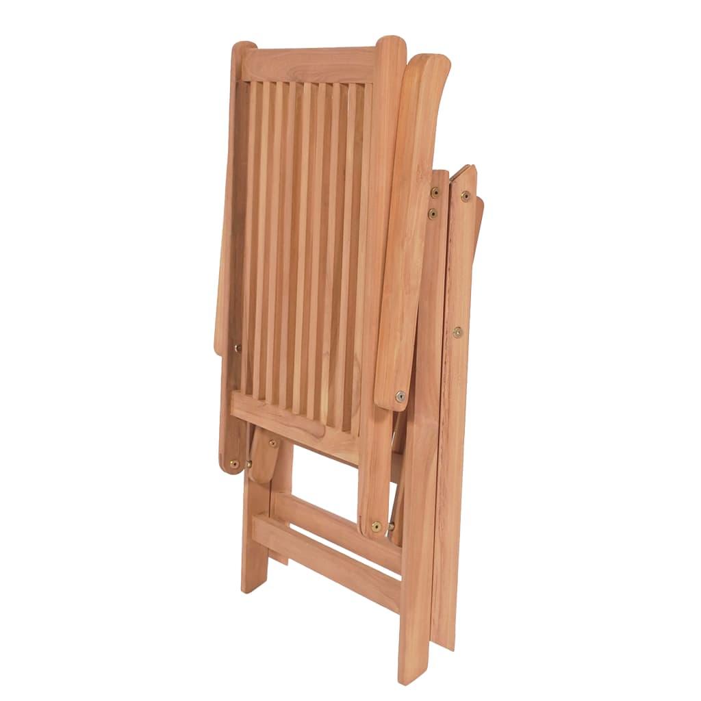 vidaXL Scaune de grădină rabatabile, 4 buc., lemn masiv de tec
