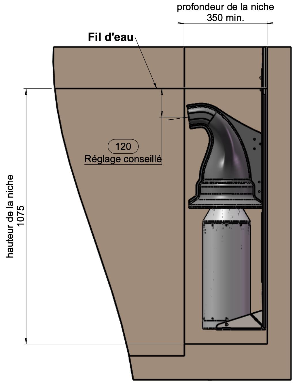 niche contre courant intégré