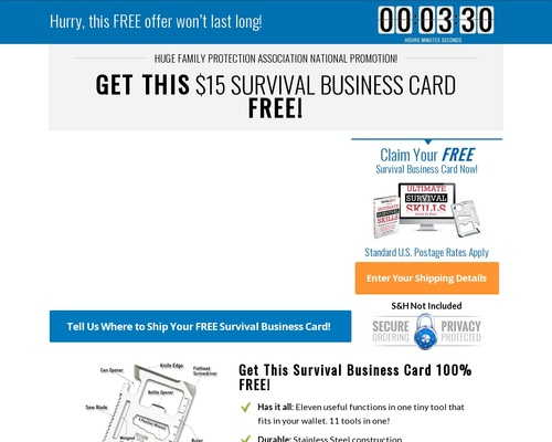 Free Survival Business Card Offer Converts 9.4% – Survival Life