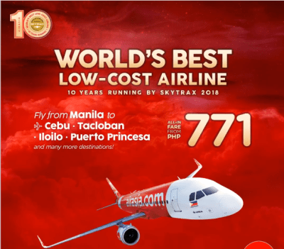 Air Asia Promo Fare Tickets at 771 Pesos UP