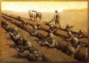 A ridicularização da Guerra. Produção e destruição humana lado a lado.