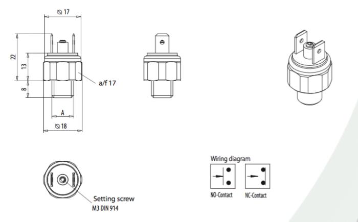 dimensions Interrupteur à membrane EPS01