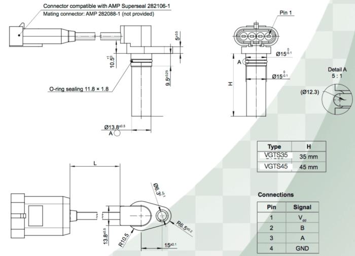 dimensions du capteur de vitesse VGTS avec connecteur