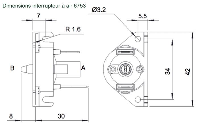 Dimensions interrupteur a air 6753