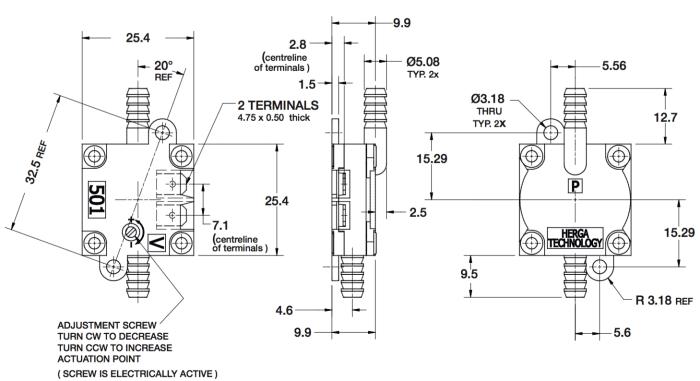 dimensions HPS501G-D
