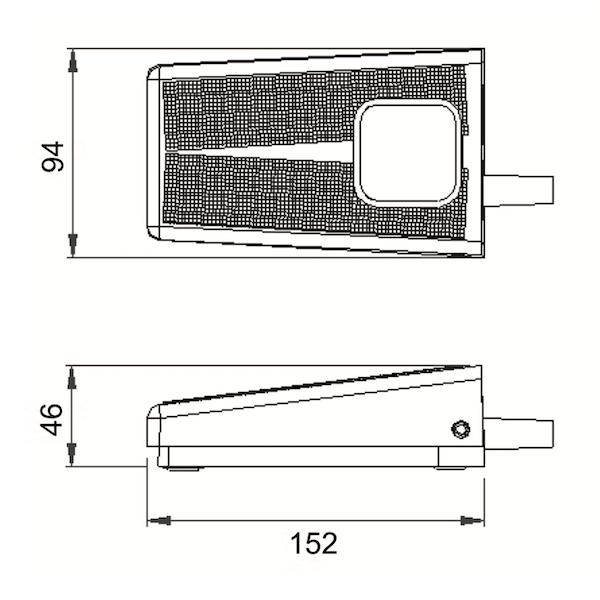 Dimensions pédale aluminium herga