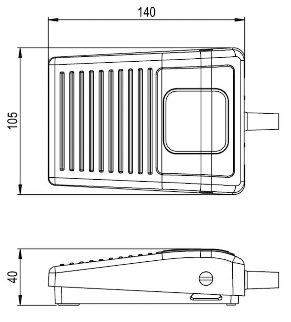 dimensions pédale USB HERGA 6210-0084