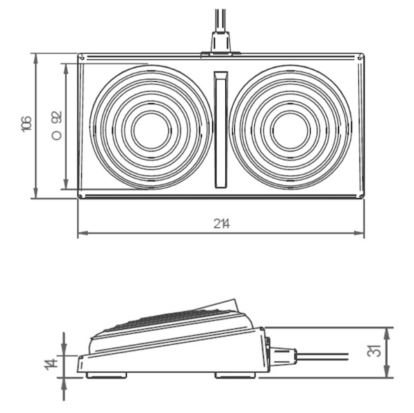 dimensions pedale double soufflets 6447
