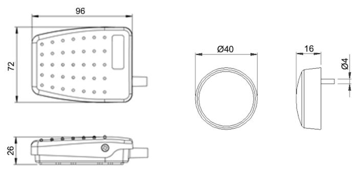 dimensions pedale et bouton poussoir