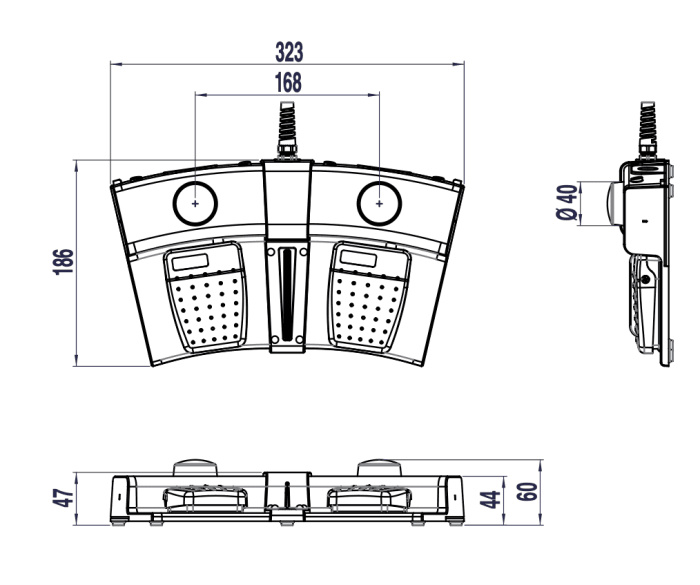 pedale double avec boutons de fonction