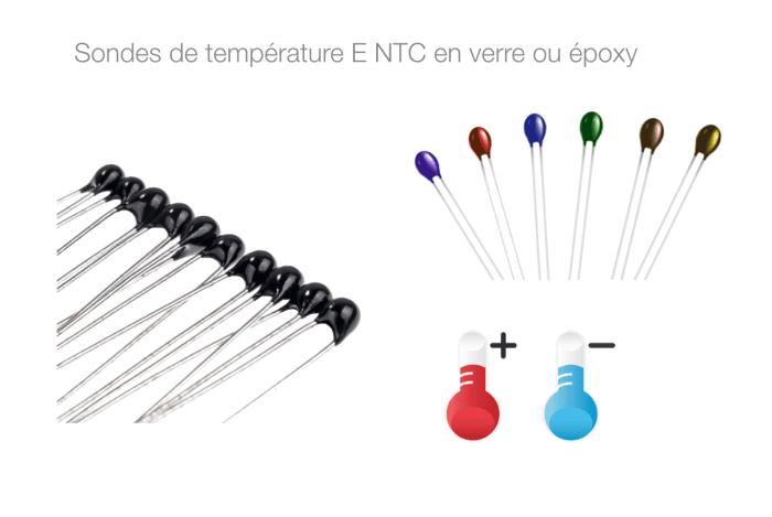 Sondes de température E NTC en verre ou époxy pitch variohm