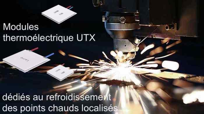 Modules thermoélectriques UTX dédiés au refroidissement des points chauds localisés