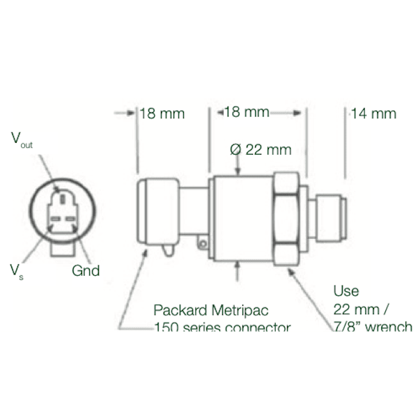 dimensions capteur EPT2200 connecteur packard metripac