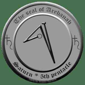 Dies ist das Siegel des Saturngeistes Arehanah aus dem 5. Pentakel des Saturn (Clavicula Salomonis).