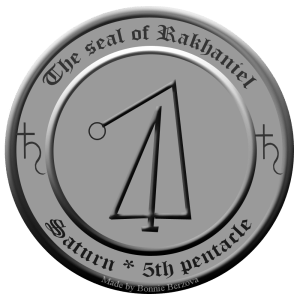 Dies ist das Siegel von Rakhaniel aus dem 5. Pentakel des Saturn.