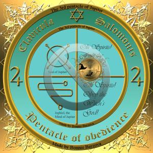 Dies ist das 3. Pentakel des Jupiter mit dem Siegel des Jupiter und dem Siegel von Jophiel.