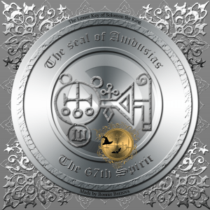Demon Amdusias is described in the Goetia and this is his seal.