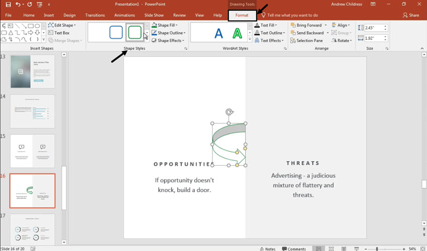Change the style of a PowerPoint curved arrow