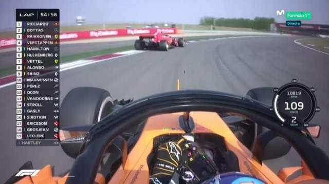 Alonso persigue a Vettel antes de adelantarle