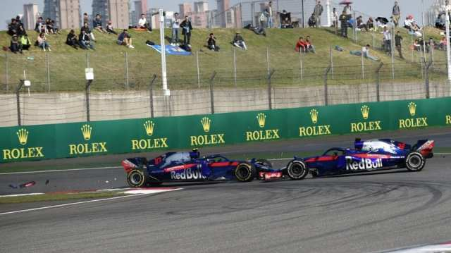 toro rosso - choque pierre gasly brendon hartley - gp de china 2018