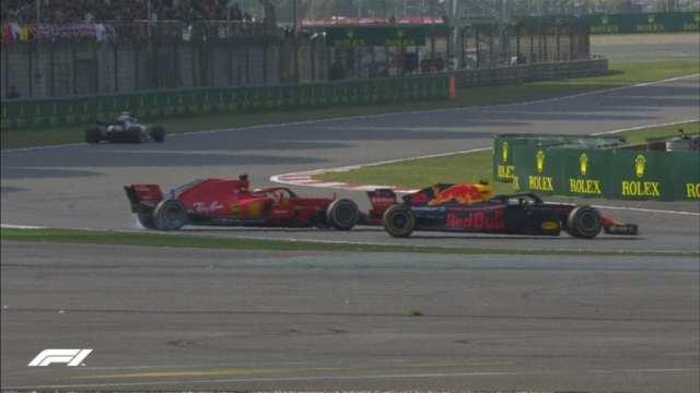Verstappen choca contra Vettel y ambos trompean
