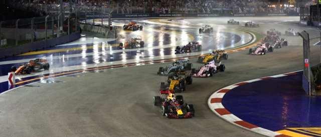 Imagen de archivo de la salida del Gran Premio de Singapur 2018