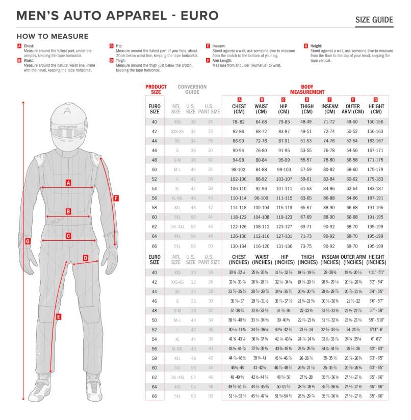 Alpinestars Auto Racing Suit Sizing Chart