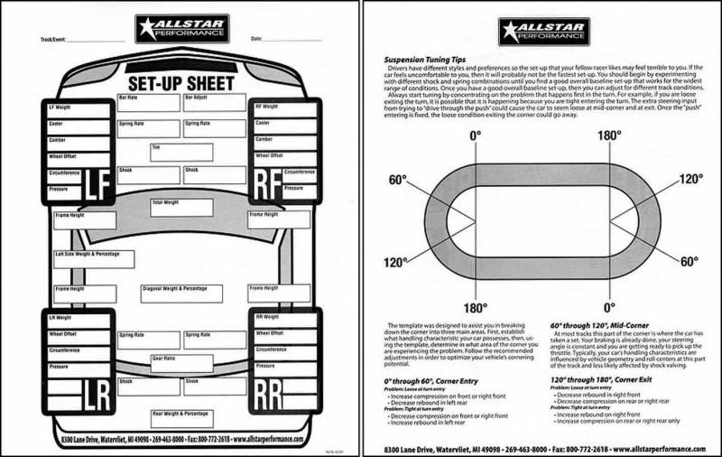 Allstar Performance Circle Track Set Up Sheets : 45