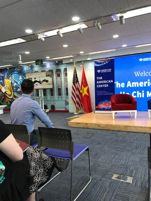Inside the 'America Center', where we met the employees of the consulate