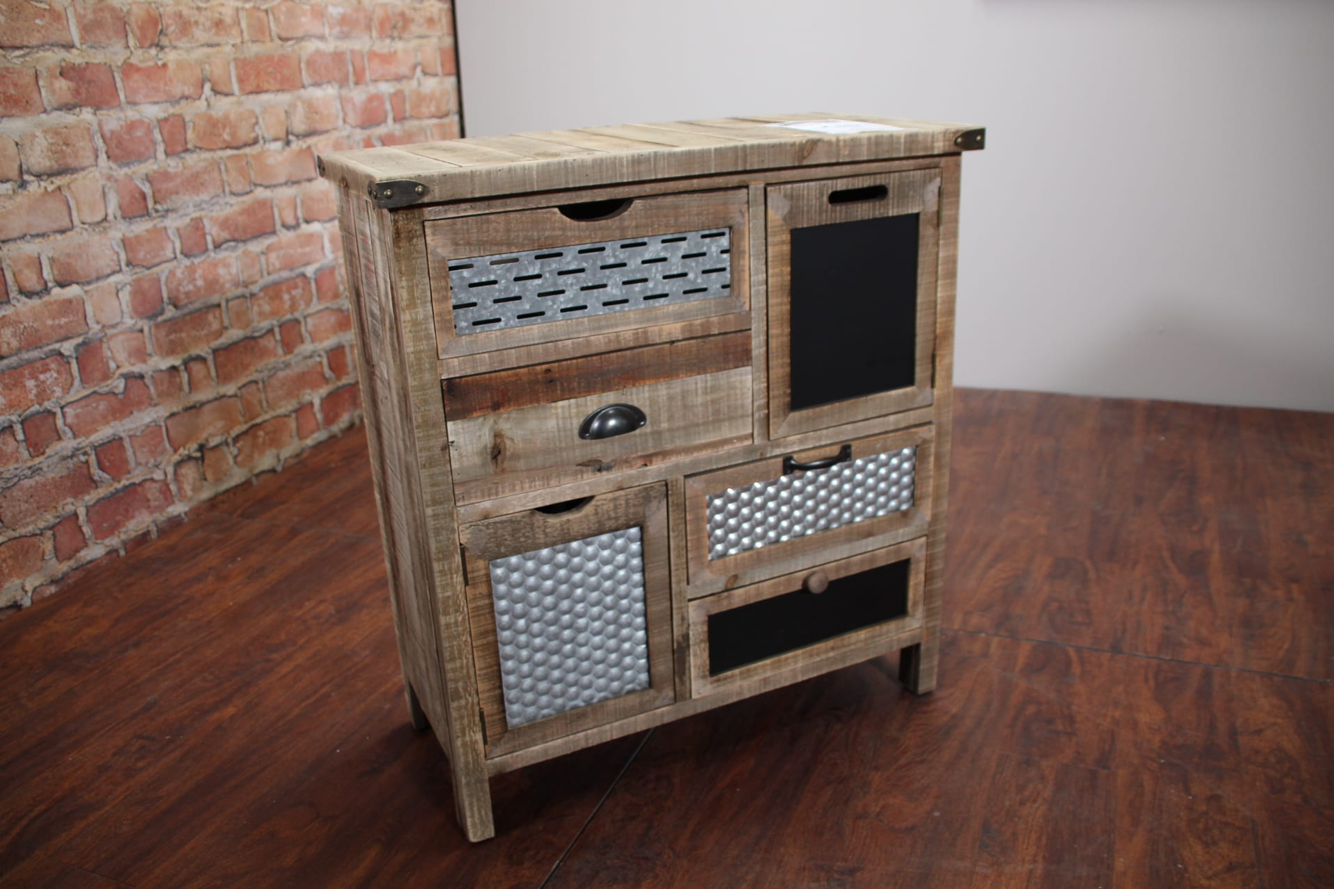 medallion rustic accent cabinet