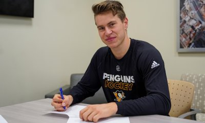 Sam Poulin sins ELC contract. Photo courtesy of Pittsburgh Penguins