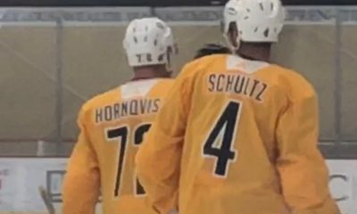 Patric Hornqvist and Justin Schultz Pittsburgh Penguins Practice