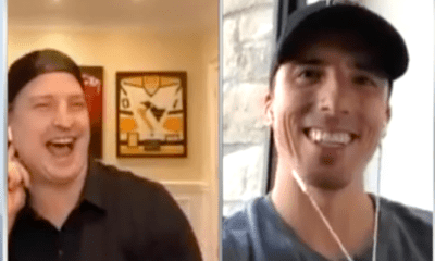Former Pittsburgh Penguins Colby Armrstrong and Marc-Andre Fleury
