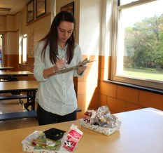 Dani Lyons, Food Studies Graduate Student at Chatham University, collects plate waste data for the Smarter Lunchrooms Movement