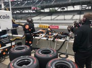 The Ed Carpenter Racing crew service the No. 20 Bitcoin Chevrolet of Rinus VeeKay