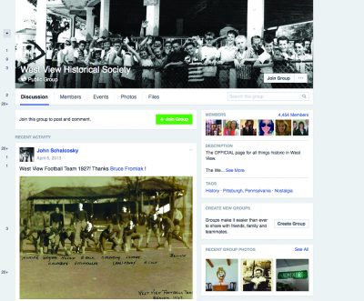 West View Historical Society public group home page.