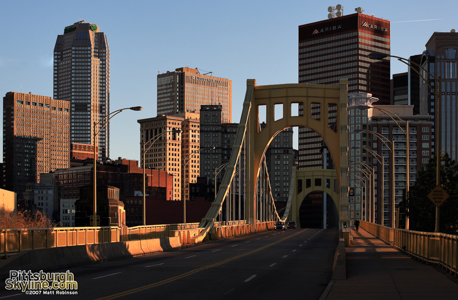 Sun sets on the 7th street bridge and downtown