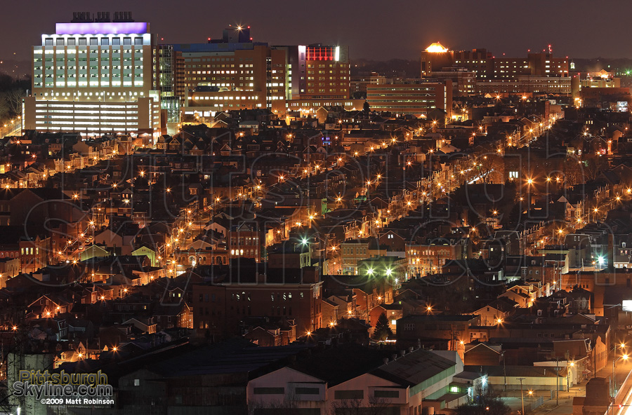 Children's Hospital of Pittsburgh anchors the nighttime landscape