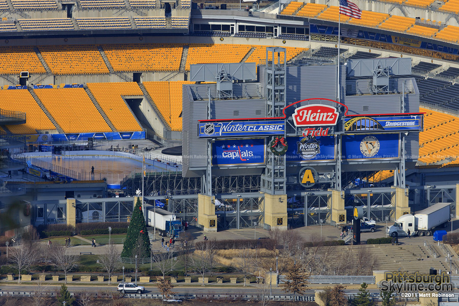 The 2011 NHL Winter Classic ice rink at Heinz Field