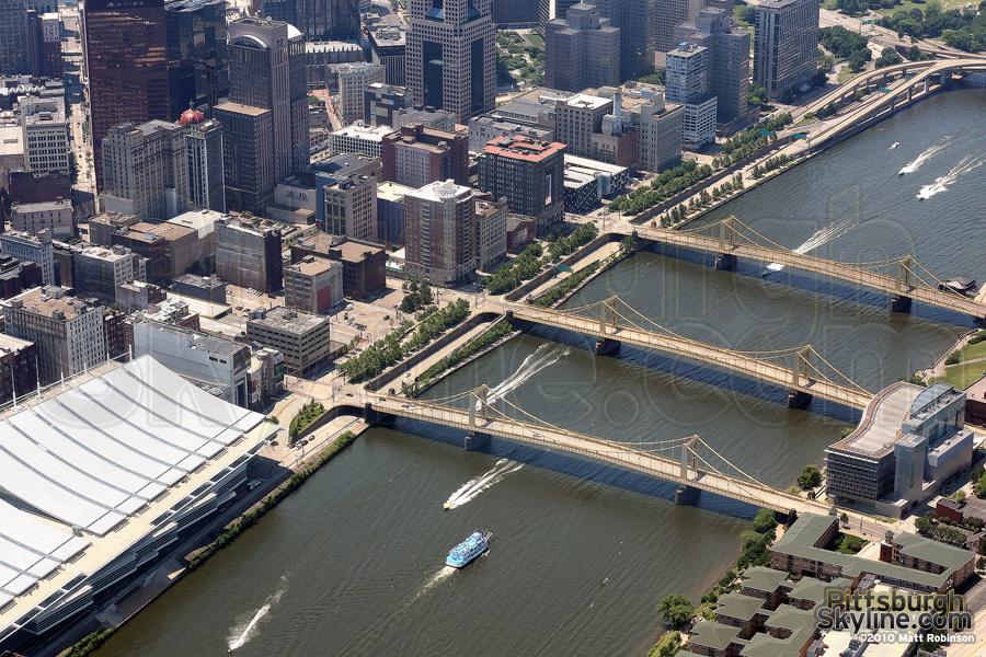 Aerial of Three Sisters bridges
